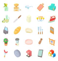 facilities icons set cartoon style vector image
