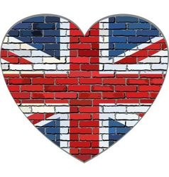 Great Britain flag on a brick wall in heart shape vector image