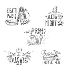 halloween night party sketch icons vector image