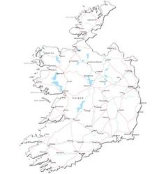 Ireland Black White Map vector image vector image