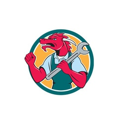 Red dragon mechanic spanner fist pump circle vector
