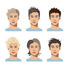set different hair style young men vector image vector image