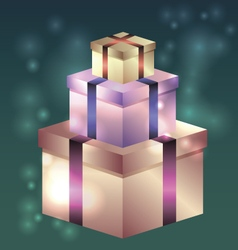 shiny gift boxes for birthday vector image