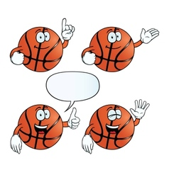 Smiling basketball set vector image vector image