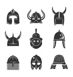 warrior helmet set vector image vector image
