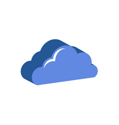 cloud symbol flat isometric icon or logo 3d style vector image