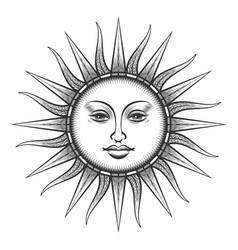 engraved sun antique face symbol vector image
