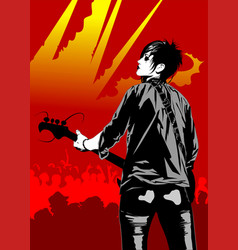 guitarist at a concert vector image vector image