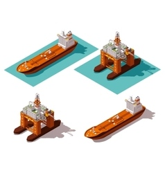 isometric tanker and oil rig vector image vector image