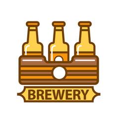 Package of three beer bottles brewery symbol flat vector