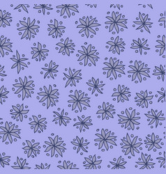 seamless pattern with blue flowers on blue vector image vector image