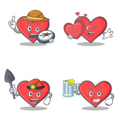 Set of heart character with explorer miner love vector