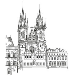 tyn church in prague vector image