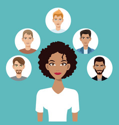 young woman afro american with faces icon vector image
