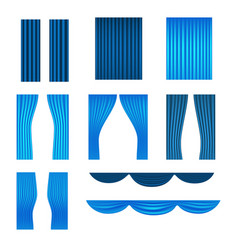 different stage blue curtains collection vector image vector image