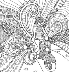 Girl driving scooter vector image
