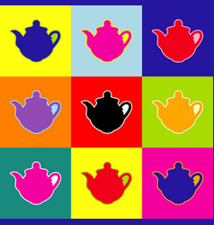 tea maker sign pop-art style colorful vector image