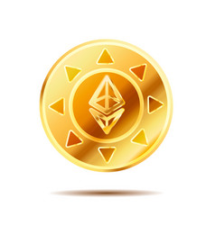 bright glossy golden coin with ethereum sign on vector image vector image