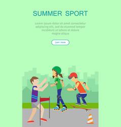 Children going in for sport web banner poster vector