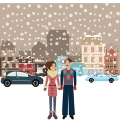 couple man woman male female standing in snow vector image