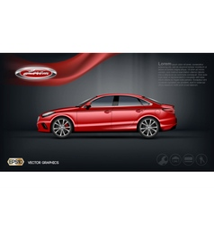 Digital red car with black windows mockup vector image vector image