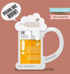 Glass of beer infographic vector image