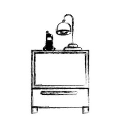 monochrome blurred silhouette of nightstand with vector image