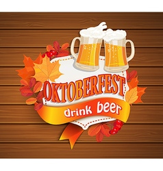 Octoberfest vintage frame with beer vector image vector image
