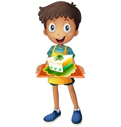 A boy holding a tray with a slice of cake vector image