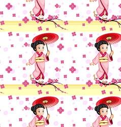 A seamless design with an asian girl vector