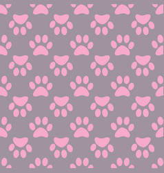 animal paw seamless gray pink pattern vector image