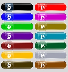 Aquarius icon sign Set from fourteen multi-colored vector image