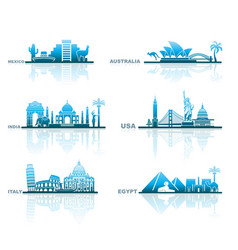 Architectural sights different countries vector