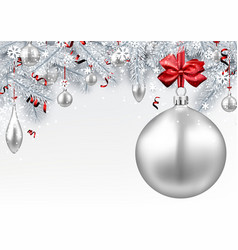 Background with silver 3d christmas ball vector