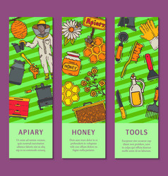 beekeeping set banners apiary and beekeeper in vector image