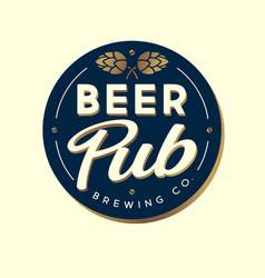 Beer pub emblem golden hop cone circle sign vector