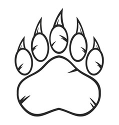 Black and white bear paw with claws vector