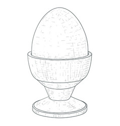 boiled egg in egg stand hand drawn sketch vector image