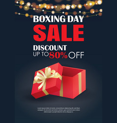 boxing day sale with red gift box advertising vector image