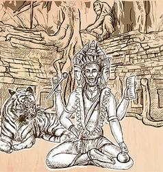 Brahma god an hand drawn line art vector
