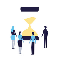 business people with hourglass time vector image