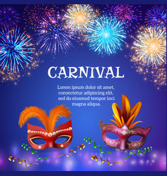 Carnival masks firework background vector