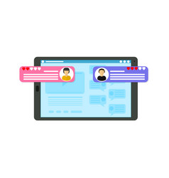 cartoon customer review page concept on a tablet vector image