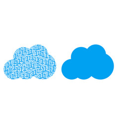 Cloud collage of binary digits vector