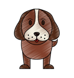 Color pencil cartoon front view dog animal vector