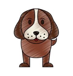 color pencil cartoon front view dog animal vector image