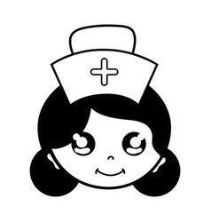Contour kawaii professional nurse face with hat in vector
