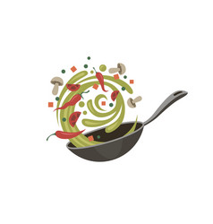 Cooking process on pan vector