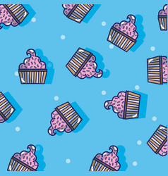 Cupcake pattern background vector