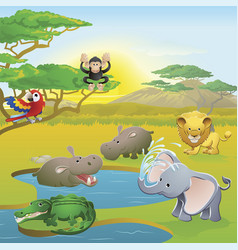 cute african safari animal cartoon scene vector image